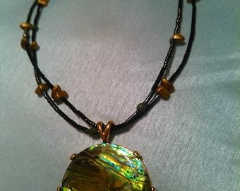 Labradonite statement double stranded necklace, large labradonite pendant brown/green