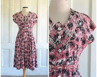 40s Day Dress 50s Dress Cotton Button Down Dress Swing Splash Print - medium