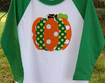 Child's Pumpkin Shirt, Youth Fall Shirt, Children's Raglan, Pumpkin Applique