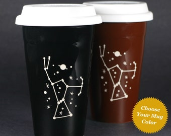 Orion Constellation Travel Mug - ceramic lidded coffee cup