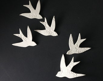 Wall art Swallows over Morocco White Porcelain bird wall sculpture Modern Ceramic art for home decor wall decor set of 5 READY TO SHIP