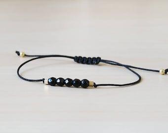 Tourmaline bracelet, black tourmaline bracelet, black tourmaline, tourmaline black, natural tourmaline, black bracelet, gold and tourmaline