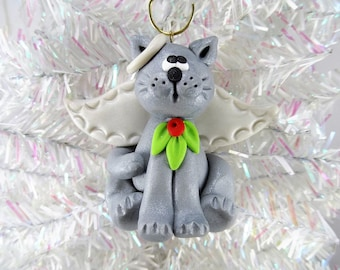 Cat Angel Christmas Ornament - Gray Angel Cat Ornament - Kitty Christmas Ornament - Cat Lovers Gift - Pet Ornament - Cat Owners Gift -1216