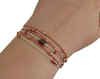 """Multi-bracelet towers/necklace"". ~ * red, rose gold, original, fine, women gift, cuff, 2 in 1 multi strand jewelry"