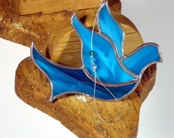 Aqua blue Stained glass Dove of Peace suncatcher christmas ornament window decoration