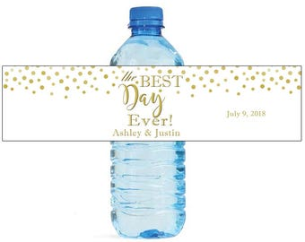 The Best Day Ever Gold Confetti on white background Wedding Anniversary Water Bottle Labels Customizable labels self stick, easy to use