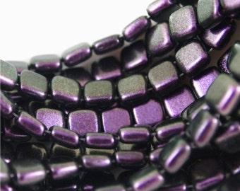 Tchèque Mates, trou 6mm 2 tuile perles-Polychrome noir Curranr-50 pièces (CZ CM PBC)