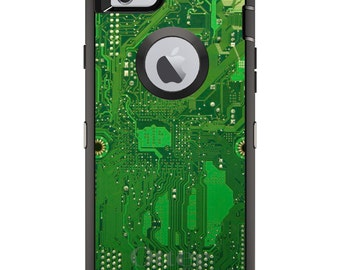 CUSTOM OtterBox Defender Case for Apple iPhone 6 6S 7 8 PLUS X 10 - Personalized Monogram - Green Circuit Board