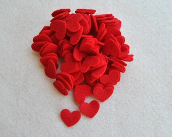 100 Piece Small Die Cut Felt Hearts, All Red