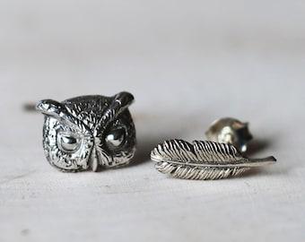PETITE FILLE Handmade Jewelry mini collection Screech-owl Sterling Silver Earrings