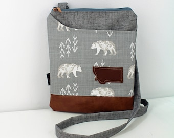 ZOE Messenger Cross Body Sling Bag -Bear Cubs with Montana Patch and PU Leather READY to SHIp  Ipad bag