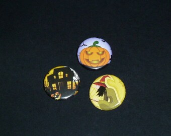 HALLOWEEN BADGES 3: set no. 2 pumpkin, witch, haunted house