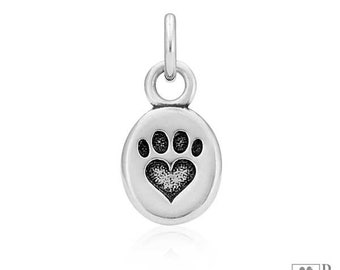 Sterling Silver Dainty Oval Paw Print Heart Charm