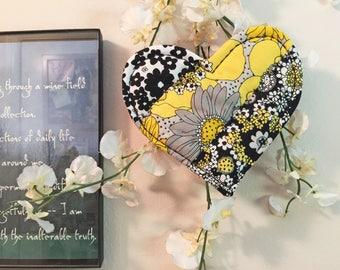 Flowered mug mat, Quilted mug mat, Sentimental heart gift, Heart mug mat, heart mug rug, Friendship gift, housewarming gift,  heart #35