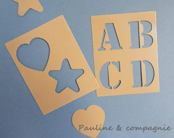 Stencil alphabet die cut numbers and symbols 16 note cards