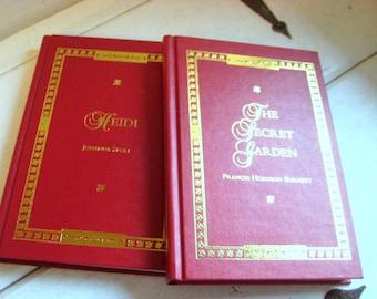 The Secret Garden Frances Hodgson Burnett and Heidi by Johanna Spyri from DreamHouse, set of two hardcover classics for children