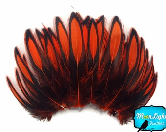 Love Drop Feathers, 1 Dozen - ORANGE Laced Hen Cape Feather : 3435