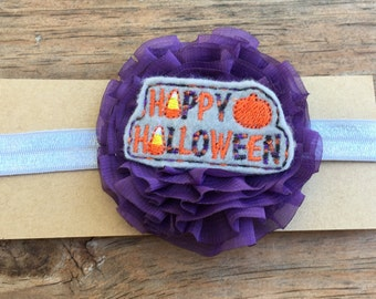 Happy Halloween/Halloween/Trick or Treat/holiday/pumpkin patch/feltie/headband/girls/infant/toddler/purple/hair/accessories/hair clip