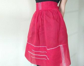 Vintage 1940s Sheer Red Half Apron
