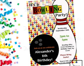 Bowling-Rainbow-Birthday-Printable Invitation-Print Yourself-INSTANT DOWNLOAD-Self Edit-Editable File-Birthday Party-Bowling Party