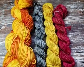 100% superwash merino   100g dk weight merino yarn with 20g minis  Hand dyed yarn indie dyed yarn