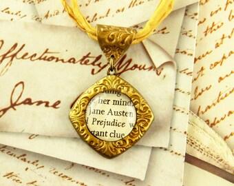 Jane Austen - Literature Necklace - Pride and Prejudice, Emma, Northanger, Sense - Romance, Novel, Author, Regency - Silver, Gold
