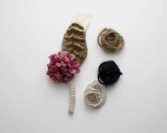 Rustic mens feather wedding boutonniere | buttonhole with flower