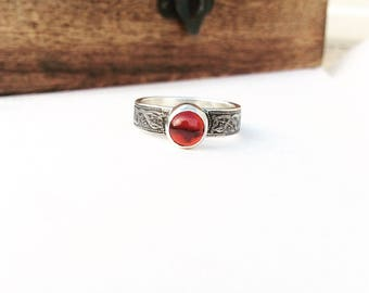 The Serpent Ring - Garnet Sterling Silver