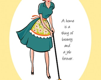 "PRINT - ""A Home Is A Thing of Beauty and a Job Forever"", quote prints, quotations, dining room art, wall decor, kitchen decor, kitchen signs"