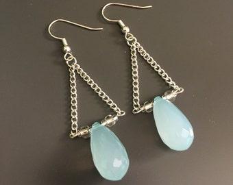 Light Blue Chain Droplet Earrings