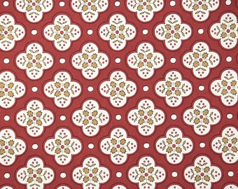 1940s Vintage Wallpaper by the Yard - Red and Gold Geometric with Little Leaves