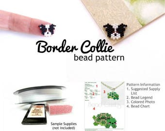 Border Collie Dog Delica Seed Bead Pattern (Mini)