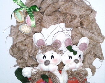 Easter bunnies and eggs wreath jute cloth on
