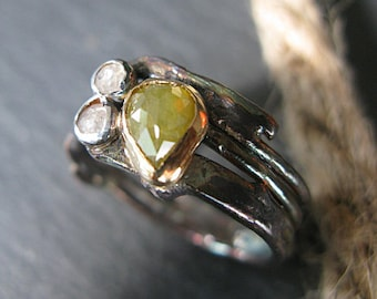 Rose Cut Diamond Ring Size 9 1/2 Unique Engagement Ring Unique Wedding Band Yellow Diamond Twig Ring Raw Diamond Ring Uncut Diamond Ring