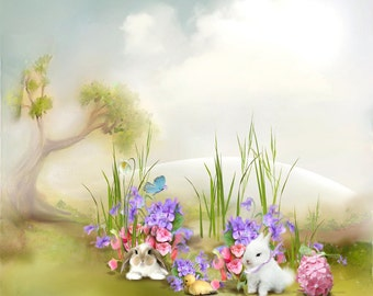 Easter Backdrop - easter day, rabbit,egg, chick - Printed Fabric Photography Background G1006