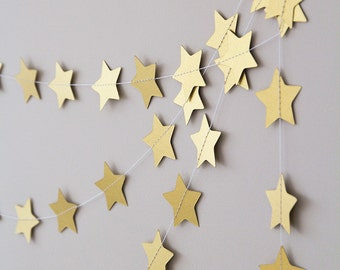 Twinkle twinkle little star garland, metallic gold paper wedding garland, christmas garland decor, nursery garland, holidays nursery decor