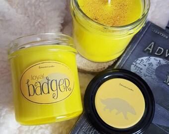 Loyal badger/housepride/soy wax candle/bookish candle