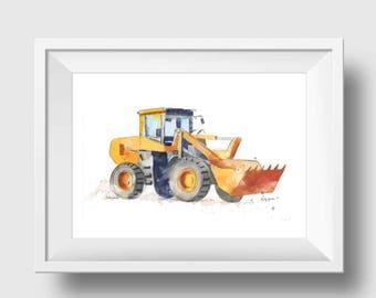 Construction Truck Print - Orange Bulldozer - Wheel Front Loader - Nursery Wall Decor - Orange Truck Wall Art - Truck Nursery Decor