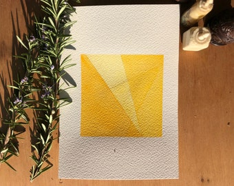 Modern abstract art - Abstract geometric - Citrine yellow geometric watercolor painting - Triangle - Original painting - Original artwork