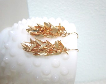 Lucia earrings, gold leaf clusters on gold filled ear wires, modern pretty jewelry