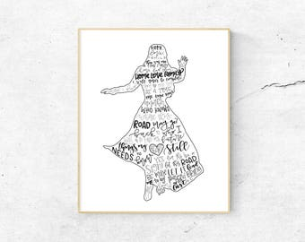 Anastasia Musical Silhouette Print   Hand Lettered   Black and White   Digital Download