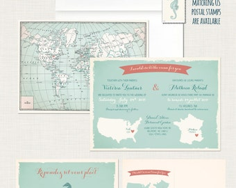 Bilingual Destination wedding invitation RSVP card World map wedding International wedding  France Aqua blue coral DEPOSIT Payment