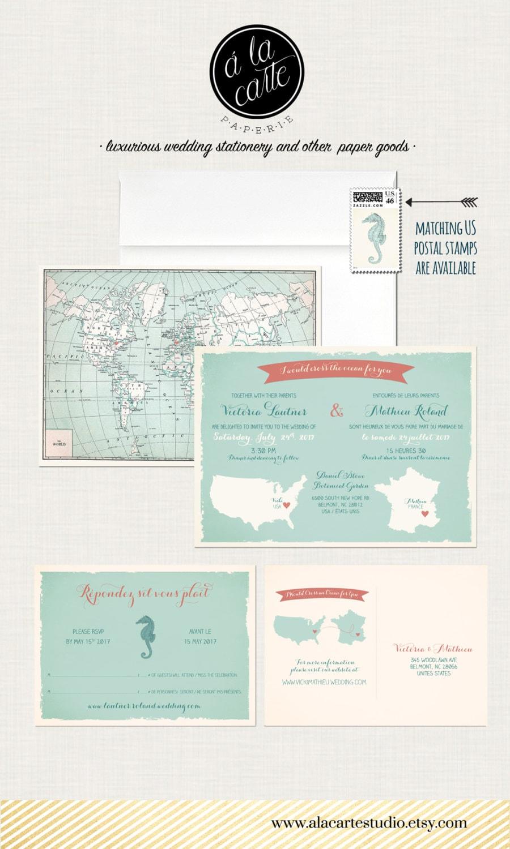 Bilingual Destination wedding invitation RSVP card World map