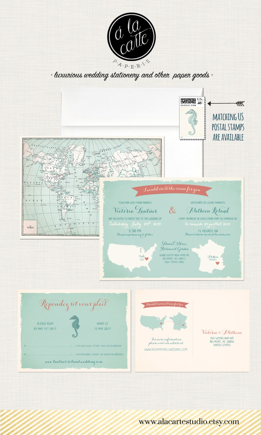 Bilingual Destination wedding invitation RSVP card World map