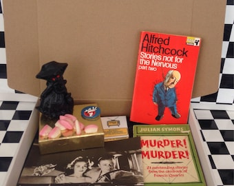 Vintage box of horror - books, treats, sweets & more