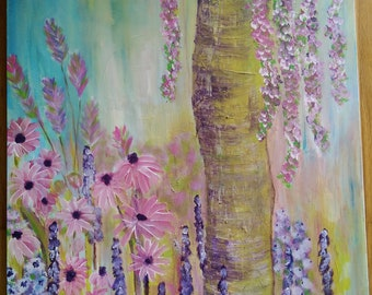 """Summer Meadow - Colorful Acrylic Painting 30x24"""""""