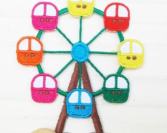 Ferris wheel iron on patch for kids.