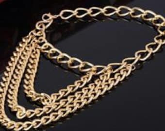 Gold Plated Three Tier Heel Chain Anklet