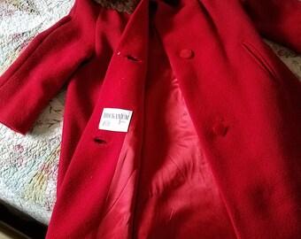 vintage Scarlet coat with fur collar, Hookanum coat by Stevens, Wool red coat with fur