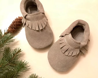 Baby Moccasins, Dusty Gray Baby Moccasins, Gray Suede Moccasins, Soft Sole Suede Moccasins